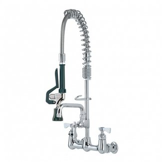 """Krowne Metal 18-706L - Royal Series 8"""" Center Wall Mount Space Saver Pre-Rinse with Add-On Faucet, 6"""" Spout, Low Lead"""