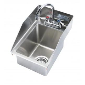 "Krowne Metal HS-1225 - 12"" x 18"" Drop-In Hand Sink with Side Splashes, 5"" Deep Bowl"