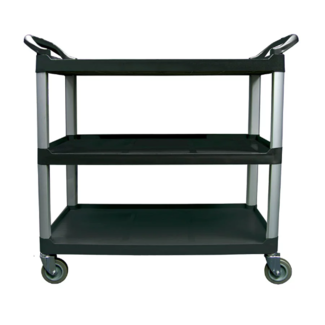 Winco Utility Cart, 3 Tier, Black Plastic