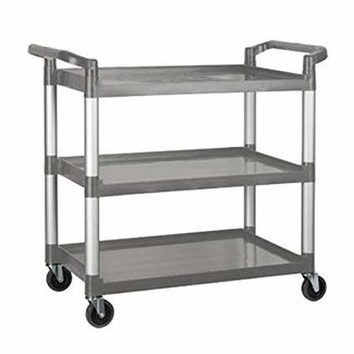 Winco Utility Cart, 3 Tier, Gray Plastic