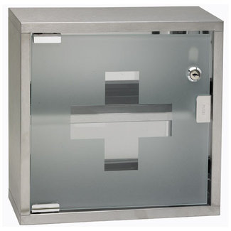 Winco First Aid Cabinet w/Glass Door, Lockable, 12'' x 12'' x 4-3/4'', S/S