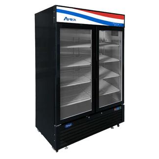 Atosa USA Bottom Mount (2) Glass Door Freezer-Black Cabinet