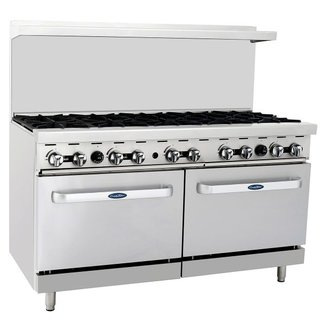 Atosa USA Atosa USA ATO-10B 60'' Gas Range. (10) Open Burners with Two 26'' 1/2 Wide Ovens (Castors Included)