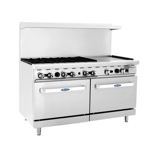 Atosa USA Atosa USA ATO-6B24G 60'' Range(6) burners and 24'' griddle on the right with (2) 26'' 1/2 wide ovens