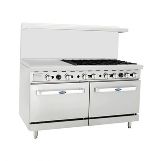 Atosa USA Atosa USA ATO-24G6B 60'' Range (6)Burners and 24'' Griddle on the left with (2) 26'' 1/2 Wide Ovens
