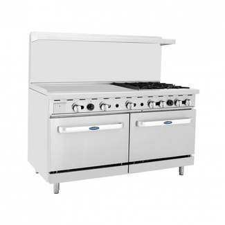 Atosa USA Atosa USA ATO-36G4B 60'' Range (4) Burners and 36'' Griddle on the left with (2) 26'' 1/2 Wide Ovens