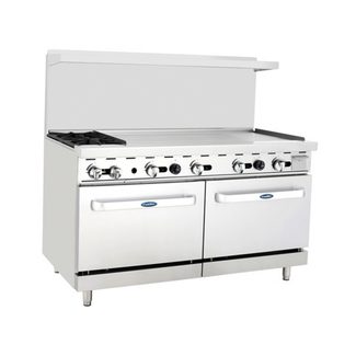 Atosa USA Atosa USA ATO-2B48G 60'' Range (2) Burners and 48'' Griddle on the right with (2) 26'' 1/2 Wide Ovens (Castors Included)