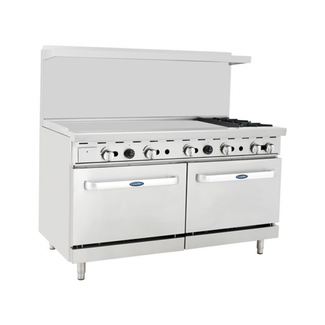 Atosa USA ATOSA ATO-48G2B 60'' Range (2)Burners and 48'' Griddle on the left with (2) 26'' 1/2 Wide Ovens (Castors Included)