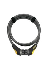 OnGuard OnGuard Akita Resettable Combo Cable Lock: 6' x 12mm, Gray/Yellow