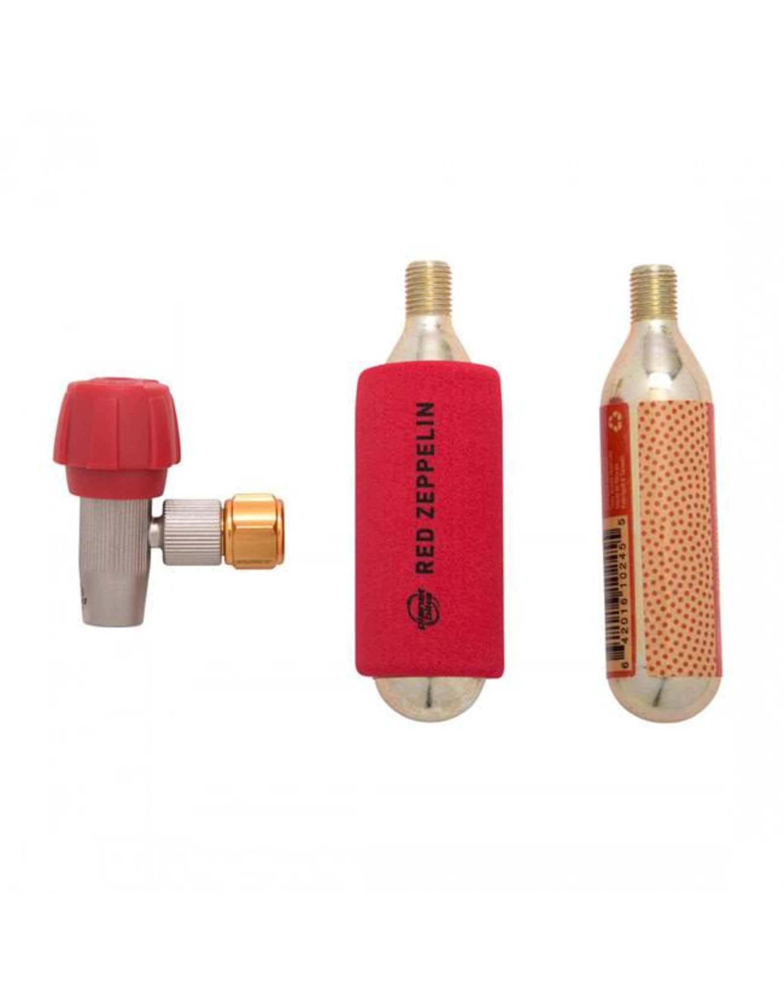 Planet Bike Planet Bike Red Zeppelin Inflator: Includes Two Threaded 16g Cartridges and Sleeve