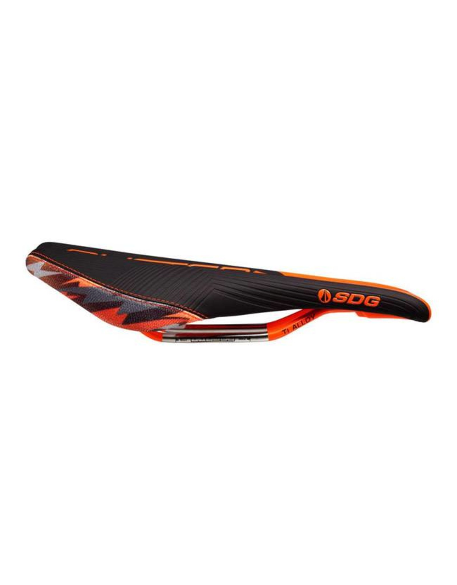 SDG SDG Duster P MTN Camo Bolt Saddle: Ti-Alloy Rails, Black Microfiber Top with Sublimated Orange Camo Kevlar Sides