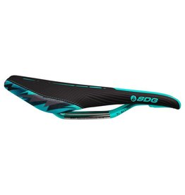 SDG SDG Duster P MTN Camo Bolt Saddle: Ti-Alloy Rails, Black Microfiber Top with Sublimated Teal Camo Kevlar Sides