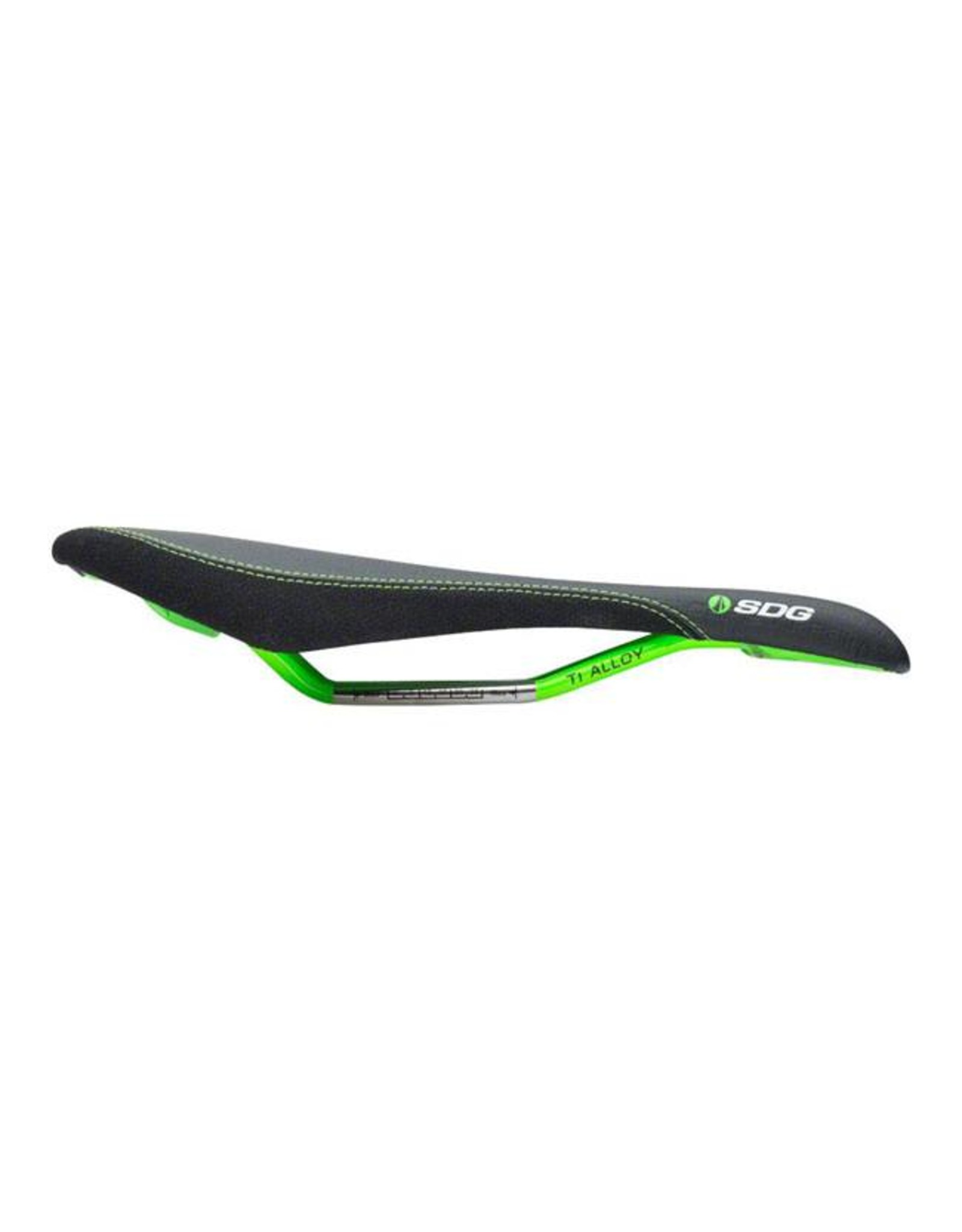 SDG SDG Circuit MTN Saddle: Ti-Alloy Rails, Black Microfiber Top with Black Aramid Sides, Green Embossed Graphics, Base, and Painted Rails