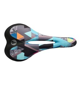 SDG SDG Allure Dakine Women's Saddle: Ti-Alloy Rails, Sublimated Geo Print Graphics Front, Black Microfiber Back With Painted Rails
