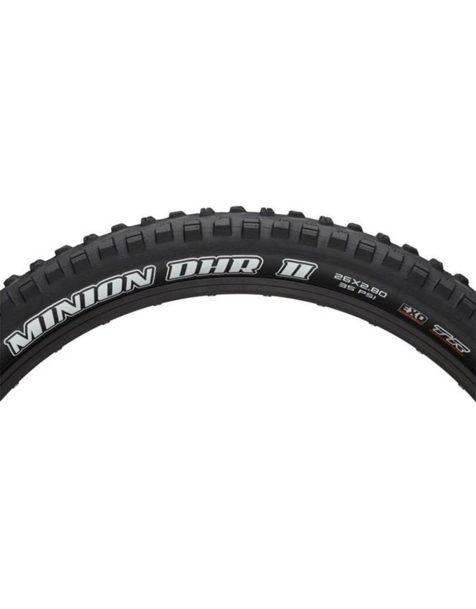 "Maxxis Maxxis Minion DHR II Tire: 26 x 2.80"", Folding, 60tpi, Dual Compound, EXO, Tubeless Ready, Black"