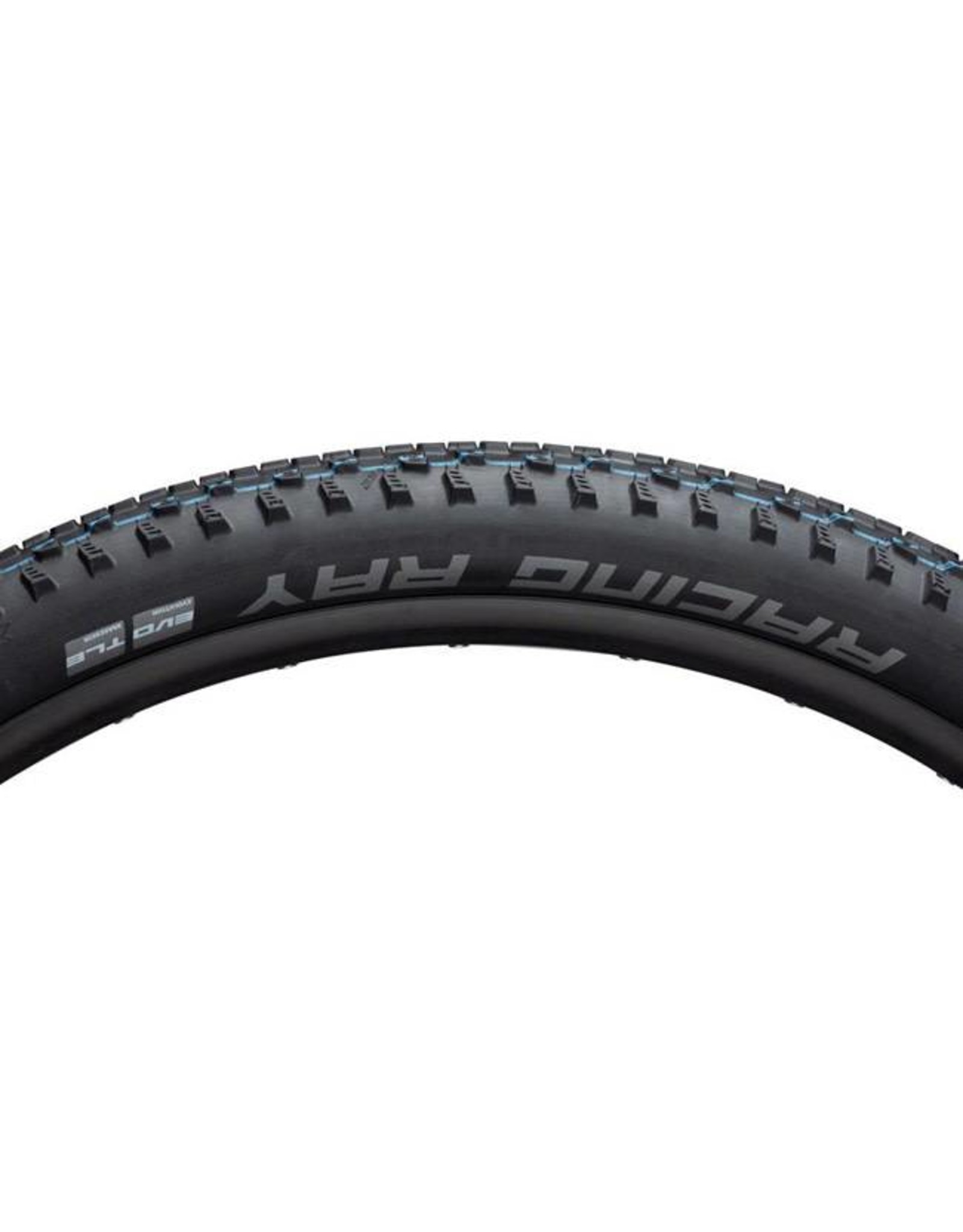 "Schwalbe Schwalbe Racing Ray Tire: 27.5 x 2.25"", Folding Bead, Evolution Line, Addix SpeedGrip Compound, SnakeSkin, Tubeless Easy, Black"