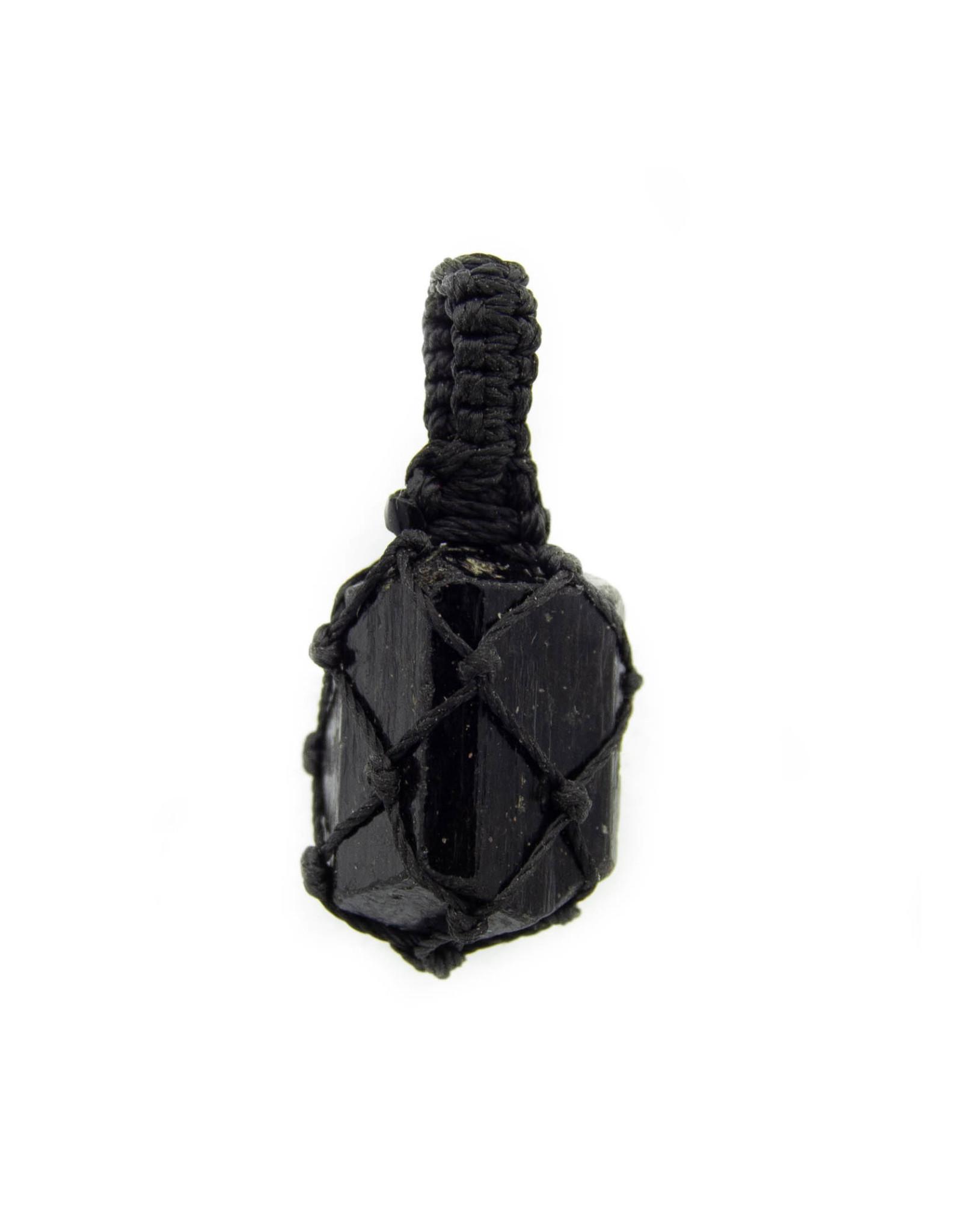 Pendentif macramé Tourmaline noire