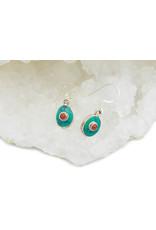 Boucles d'oreilles  Turquoise & corail