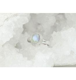 Bague Pierre de lune arc-en-ciel