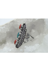 Turquoise/Coral Ring