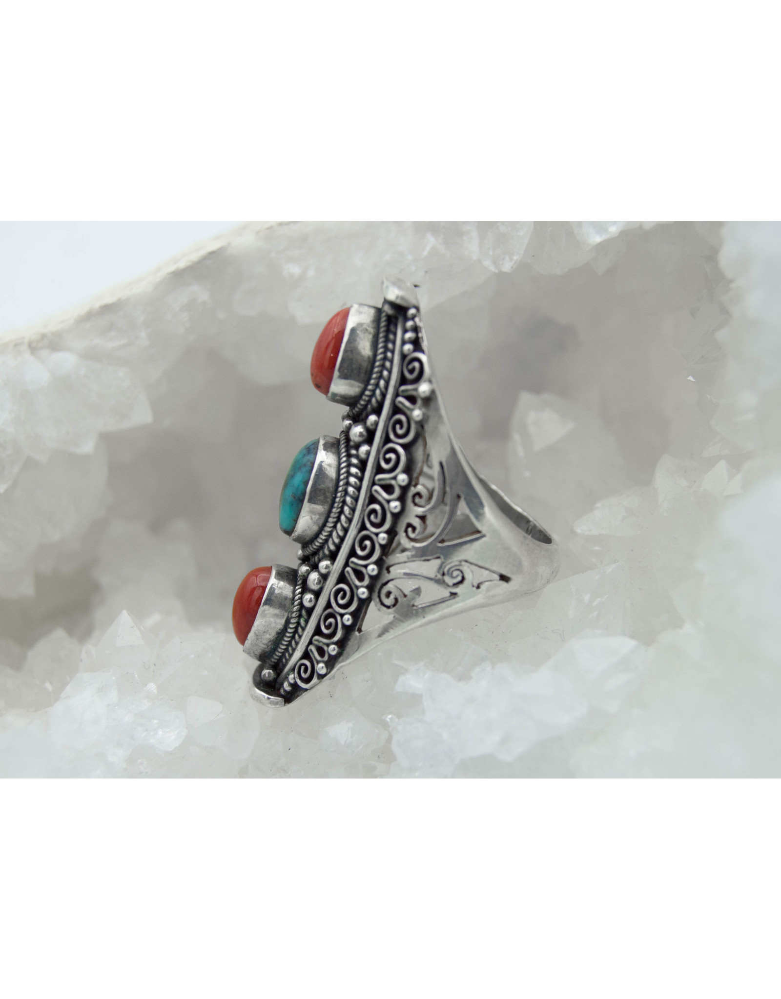 Bague Turquoise/corail