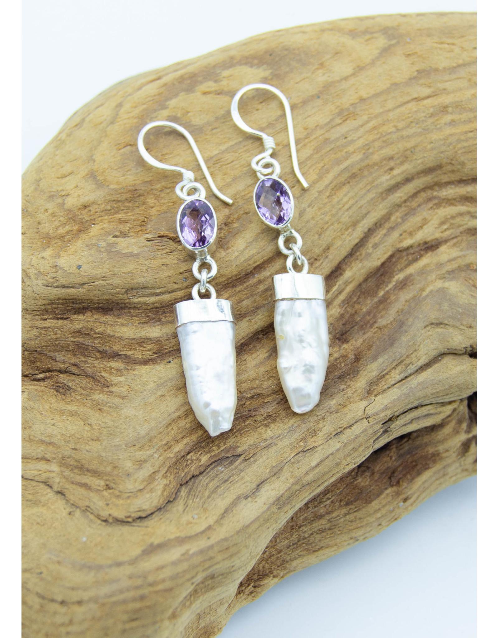 Mother of pearl & Amethyst Earrings
