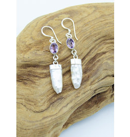 Mother of pearl & Amethyst Earrings