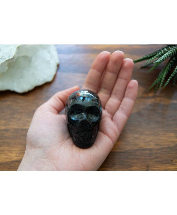 Black Labradorite Skull Head