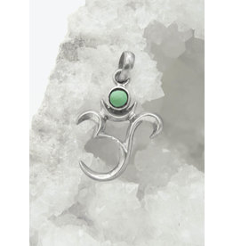 Silver pendant - OM - Turquoise