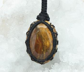 Petrified Wood Pendant Macrame