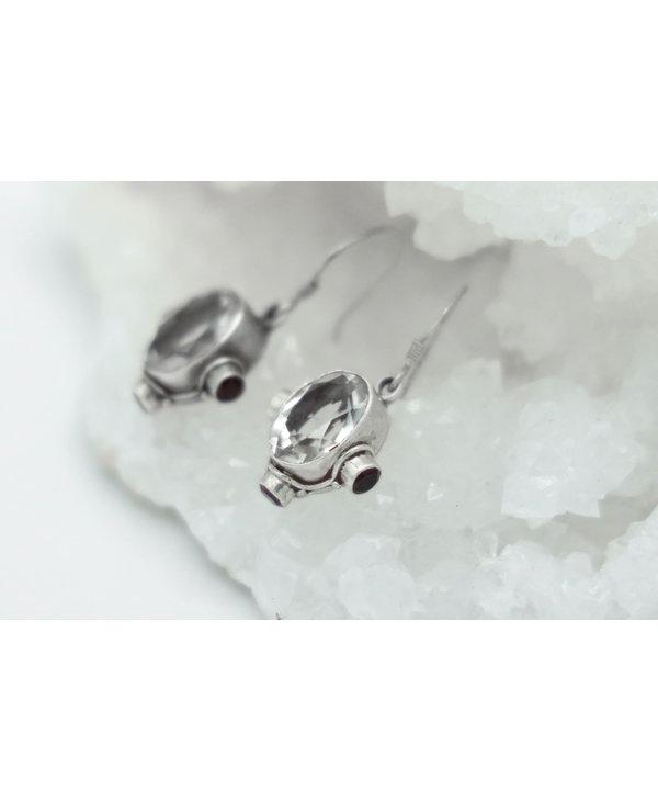 Clear Quartz & Garnet Earrings