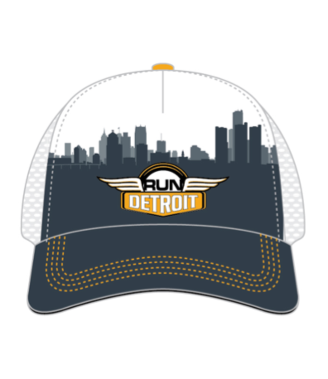 RUNdetroit Foam Trucker Hat Grey/White