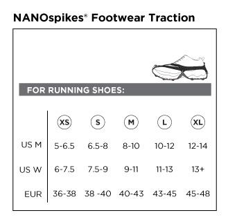 Kahtoola Nano Spike Size Chart