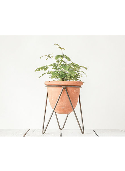 Creative Co-Op Terracotta Pot with Metal Stand
