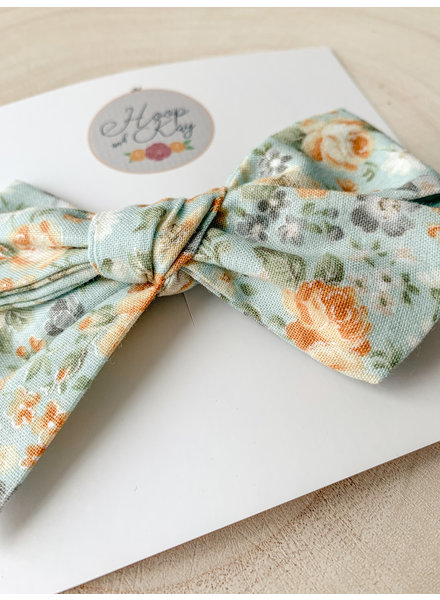 Hoop and Kay-Kasey Lombardo Hair Bow Clip Light Blue Floral