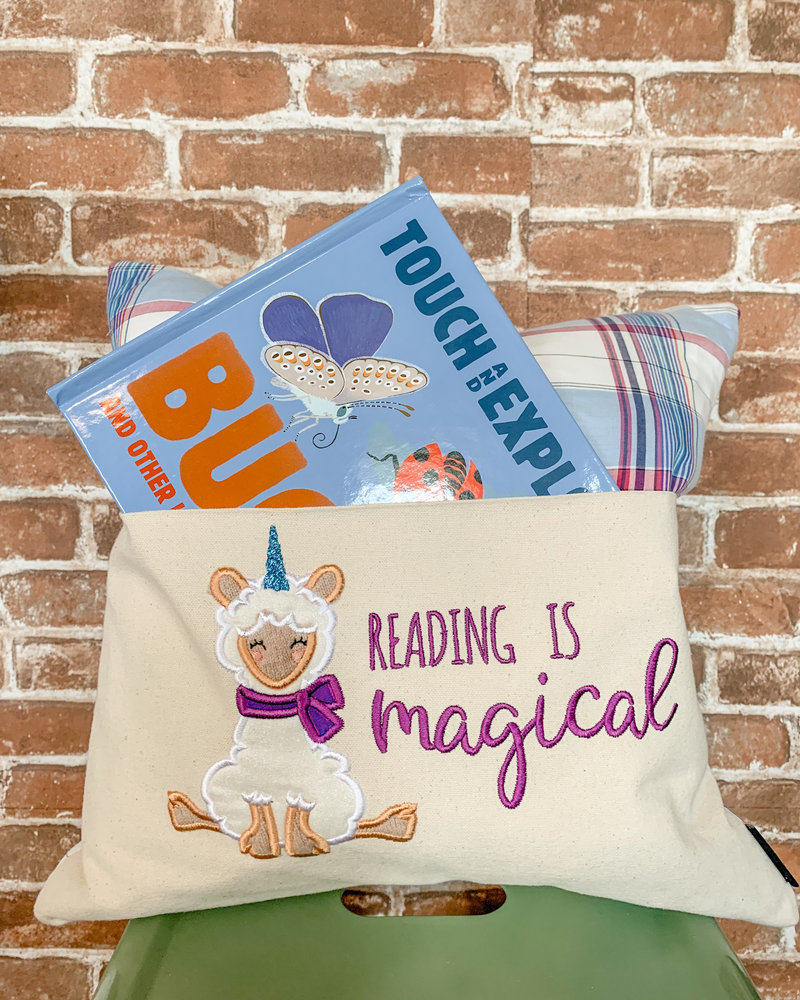 reading is magical llamacorn reading pillow