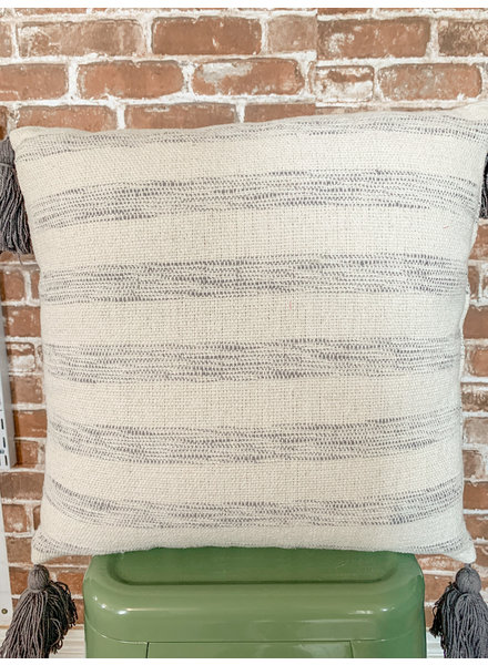 Creative Co Op Cotton Woven Grey Striped Pillow With Tassels