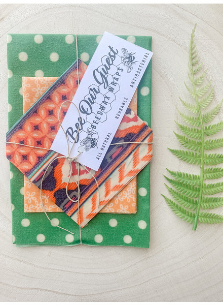 Bee Our Guest Beeswax Wraps Green PolkaDot 3 Pack