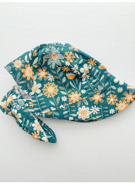 Oweee Baby Girls  Reversible Bonnet Teal Floral