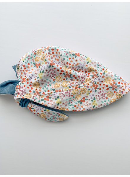 Oweee Baby Girls Reversible Bonnet Floral and Denim