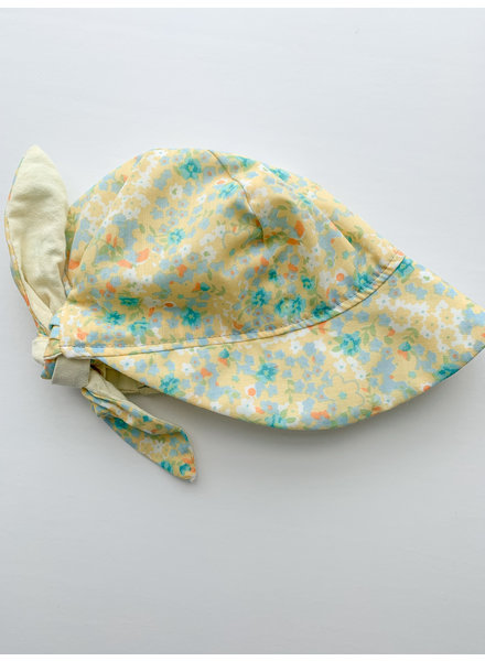 Oweee Baby Girls Reversible Bonnet Yellow Floral