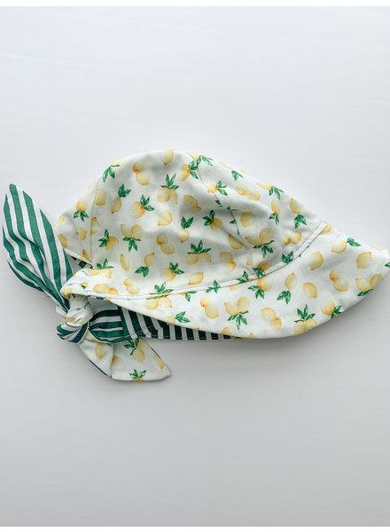 Oweee Baby Girl  Reversible Bonnet Green Stripe Lemon
