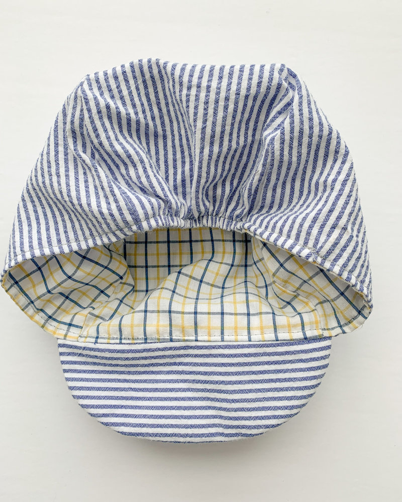 Oweee Baby Boys Reversible Cap Blue and White Stripe