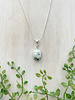 "Cut Stone White Green Marble Pendant 18"" Silver Necklace"