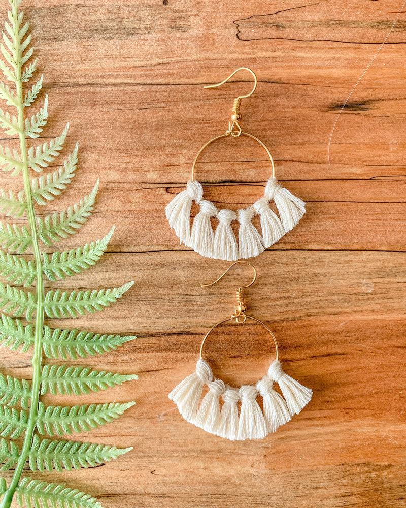 Lydia Ciafre White Tassle Hoop Earrings