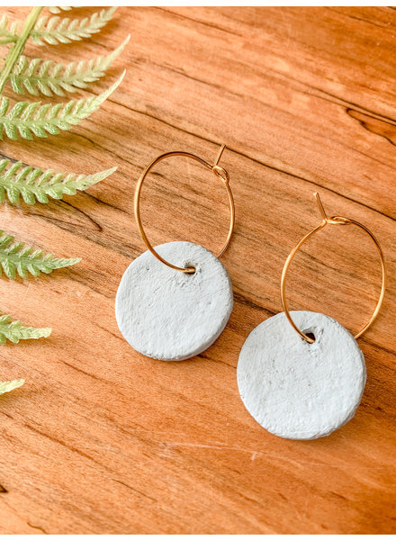 Lydia Ciafre Organic Clay Light Blue Circle Earrings