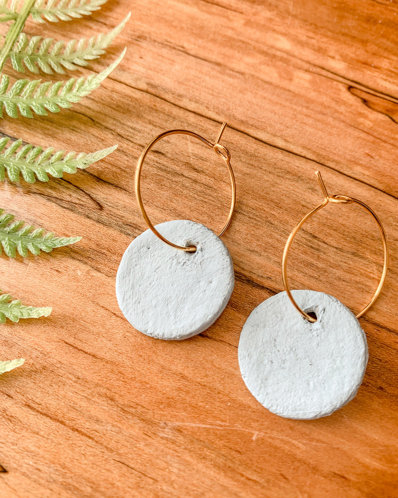 Lydia Ciafre Organic Clay Light Blue Circle Earrings