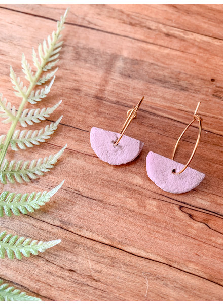 Lydia Ciafre Organic Clay Pink Half Circle Earrings