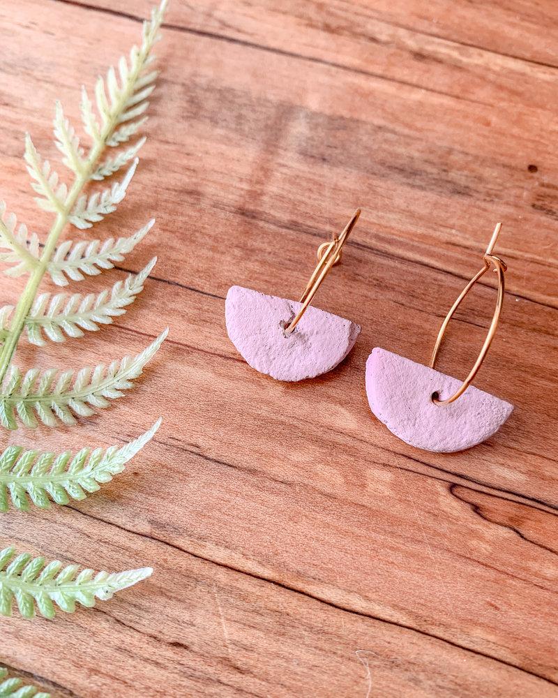 Lydia Ciafre Organic Clay Pink Half Circle Earrings