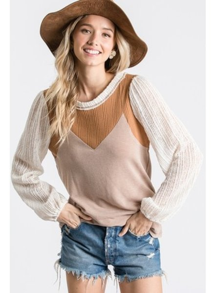 Ces Femme Long Sleeve Color Block Top